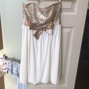 Strapless gold and cream party dress!